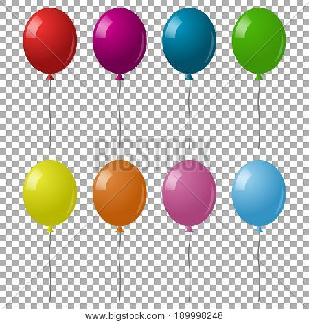 Colorful realistic helium balloons isolated on a transparent background