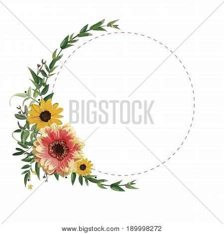 Flower circle round wreath flowers yellow orange Dahlia Sunflower eucalyptus leaves beautiful lovely fall summer bouquet vector illustration top view square elegant watercolor design white background