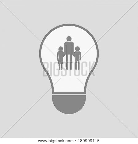Isolated Light Bulb With A Male Single Parent Family Pictogram