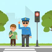 Policeman shows and explains the highway code for student. Pedestrian traffic light. Traffic at the crossroads. Vector illustration in flat style. poster