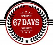 67 days warranty vintage grunge rubber stamp guarantee background poster