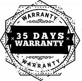 35 days warranty icon vector vintage grunge guarantee background poster