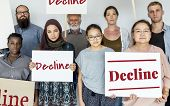 Disapprove rejection decline word on banner poster