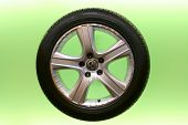 car rim and tire on semi-transparent green background poster