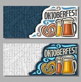 Vector horizontal banners for Oktoberfest: 2 invite ticket on fest party on blue and grey texture background, lettering text - oktoberfest, bavarian pretzel, lager and dark foamy beer in glass mugs. poster