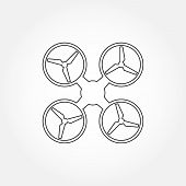 Drone line icon. Copter or quadrocopter outline silhouette. Vector illustration. poster