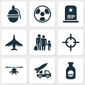 Warfare Icons Set. Collection Of Fugitive, Bombshell, Ordnance And Other Elements. Also Includes Symbols Such As Rockets, Ordnance, Grave. poster