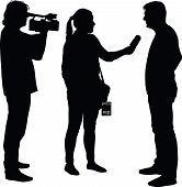 interview with star journalist and cameraman silhouette vector poster