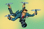 People journalist quadcopter drone. paparazzi photographer blogger. Pop art retro vector illustration poster