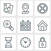 Network Icons Set. Collection Of Hourglass, Increase Loup, Exit And Other Elements. Also Includes Symbols Such As Clock, Estate, Cancel. poster