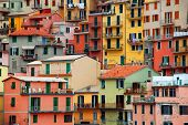 Colourful texture of Manarola city of Cinque Terre - Italy. poster