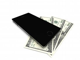 Mobil banking. Smartphone and dollar bills isolated on white background. High quality 3d render.