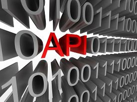 API in the form of binary code isolated on white background. High quality 3d render.