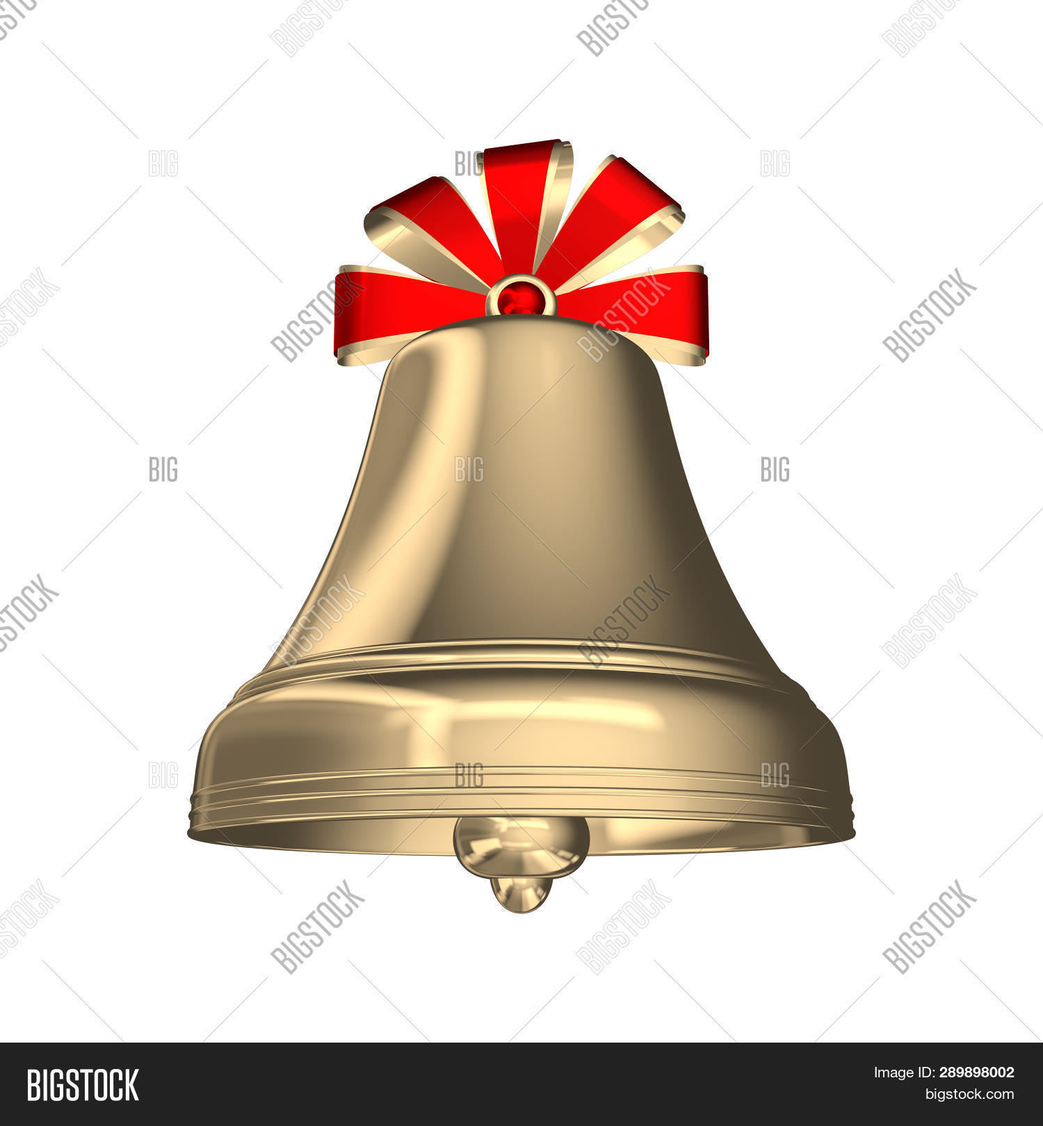 d18192f55 Golden Christmas Bell With Red Ribbons Isolated On White Background.  Christmas Symbol, School Bell