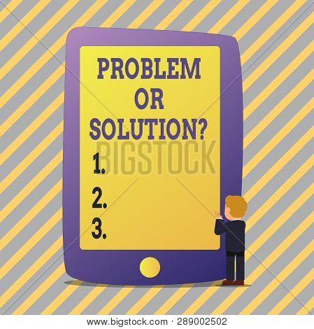 Text Sign Showing Problem Or Solutionquestion. Conceptual Photo Think Solve Analysis Solving Conclus