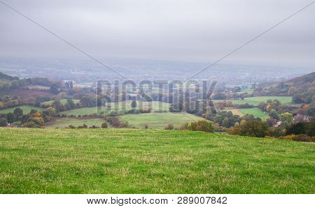 Agricultural Land For Sheep Grazing Is Seen On A Foggy Day In Rural Shropshire, England.
