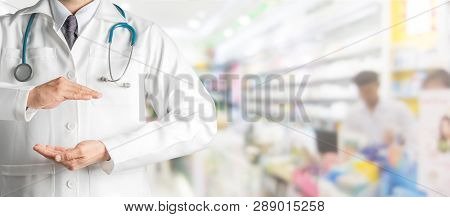 Doctor Open Hands For Your Text Banner Design.