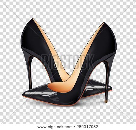 A Pair Of Beautiful Female Shoes On A Transparent Background, Sexy Shoes, Classic. High-heeled Shoes