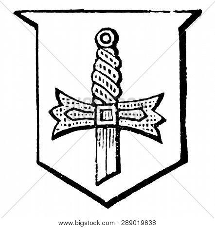 Sword Hilted of a sword tinctured, vintage line drawing or engraving illustration.