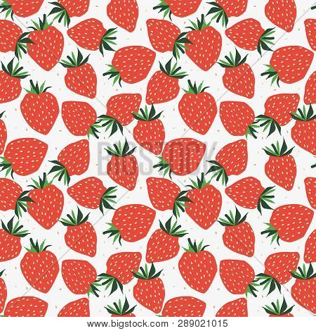 Fresh Strawberry Seamless Pattern. Sweet Strawberry Concept.