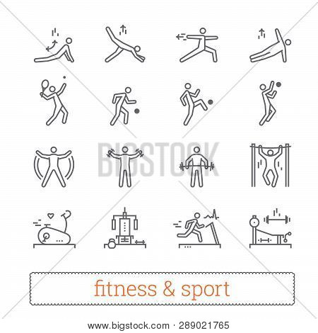Sport, Fitness And Gym Exercise Thin Line Icons. Modern Linear Logo Concept For Web, Mobile Apps. Gy