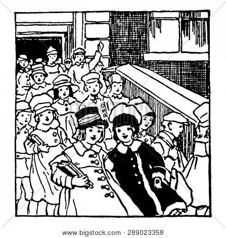 Children Leaving School  in large group or  escuela, females, girls, kids, males, ninos, school building, vintage line drawing or engraving illustration.