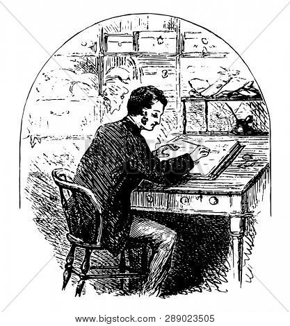 Man Sitting at Desk & Writing in Journal or person writing, sitting at roll top desk, writing in a journal, vintage line drawing or engraving illustration.