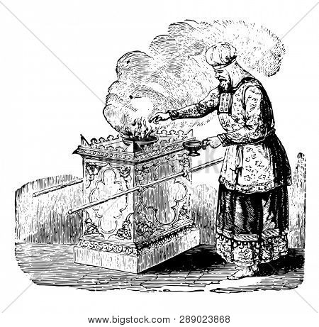Altar of Incense, this scene shows a man standing near altar and something is burning in bowl kept on altar, a man putting something in bowl, vintage line drawing or engraving illustration