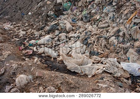 Close Up Of Huge Pile Of Municipal Waste , Pile Of Garbage ,garbage Dump , Waste From Household In W