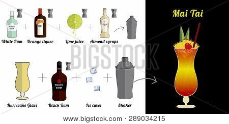 Alcoholic Popular Cocktail  Mai Tai Recipe With Ingredients. Cocktail Infographic Set. Flat Vector I