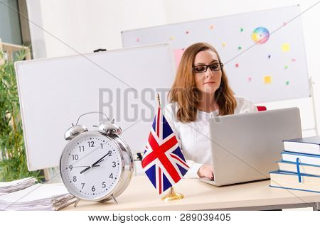 Female english language teacher in time management concept