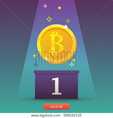 Bitcoins Coin Icon. Bitcoins - Virtual Money Concept. Flat Modern Design Concept Of Cryptocurrency T