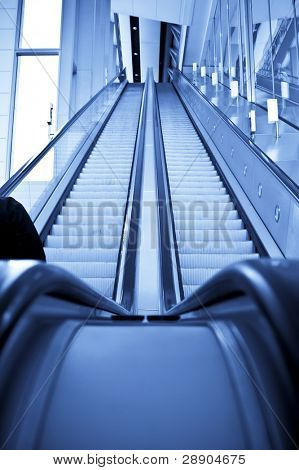 Two ways escalator in blue tone.