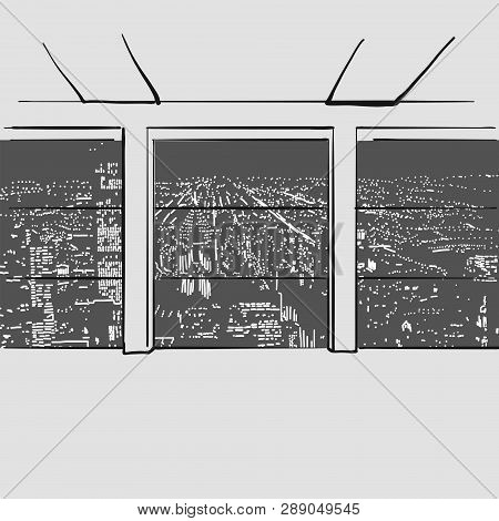 Empty Large Office With City In Background. Hand Drawn Vector Illustration. Series Of Sketched Busin