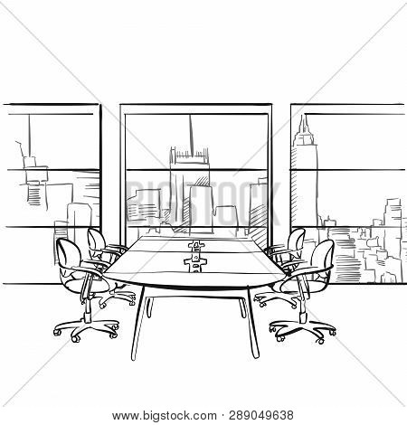 Interior Metropolis Office. Hand Drawn Vector Illustration. Series Of Sketched Business Backgrounds.