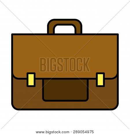 Color Business Briefcase Object To Save Document Vector Illustration