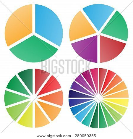 Pie Chart Group Vector Graphic With Modern Soft Bold Gradient Colors, Nice Spacing Between Slices, P