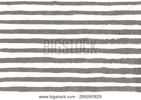 Watercolor Gray Brush Strokes On White Background. Hand Drawn Grunge Stripes Pattern For Fabric Prin