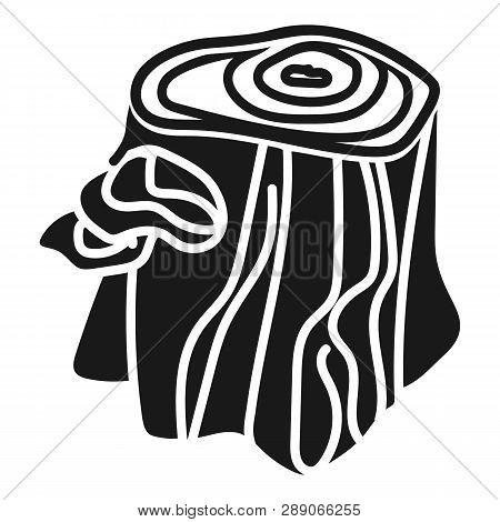 Stump With Mushrooms Icon. Simple Illustration Of Stump With Mushrooms Icon For Web Design Isolated