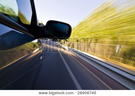 Abstract blurred action from car at high speed.