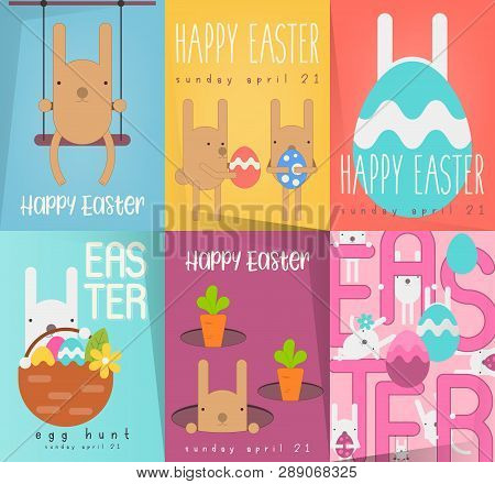 Easter Greeting Posters Set. Collection Mini Placards With Funny Easter Bunnies And Paschal Eggs In