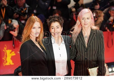 Esther Schweins, Dunja Hayali attend the 'The Kindness Of Strangers' premiere during the 69th Berlinale Festival Berlin at Berlinale Palace on February 07, 2019 in Berlin, Germany.