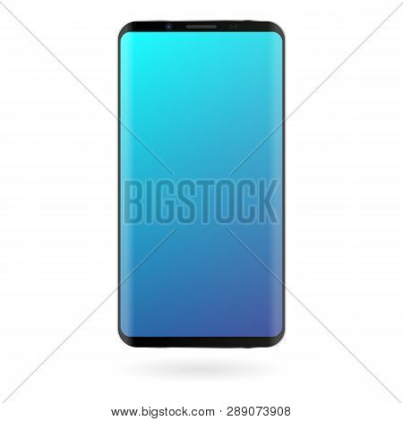 Smartphone Mockup With Blue Gradient Screen On White Background. Black Color Digital Gadget Template