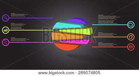 3D Illustration Infographic Template With Embossed Circle Randomly Divided To Six Shifted Parts