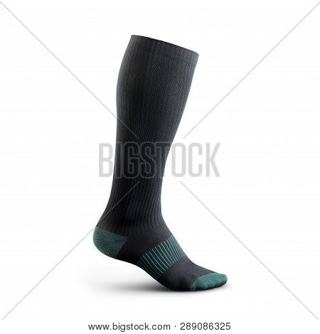 Sock In High Resolution On An Isolated White Background Socks Gaiters Of Black Color With Birch Inse