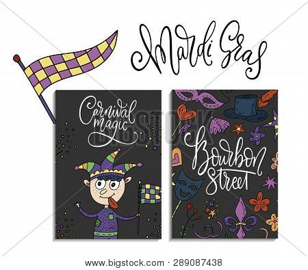 Mardi Gras Party Vector Illustrations. Carnival Cards With Doodle Illustration And Lettering Quote.