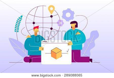 Vector Delivery Service Design Concept Web Banner With Big Modern Flat Line Man And Woman, Webpage,