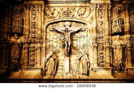 Crucifixion scene in stone.