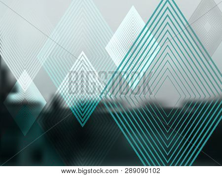 Vector Abstract Green Background With Rhombuses. Geometric Fond With Blur Effect. Illustration Of So