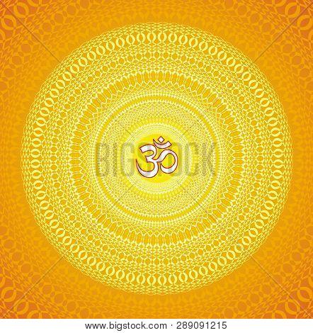 Square сolorful Openwork Mandala With Aum / Om / Ohm Sign In Center. Circular Elegant Ornament. Vect